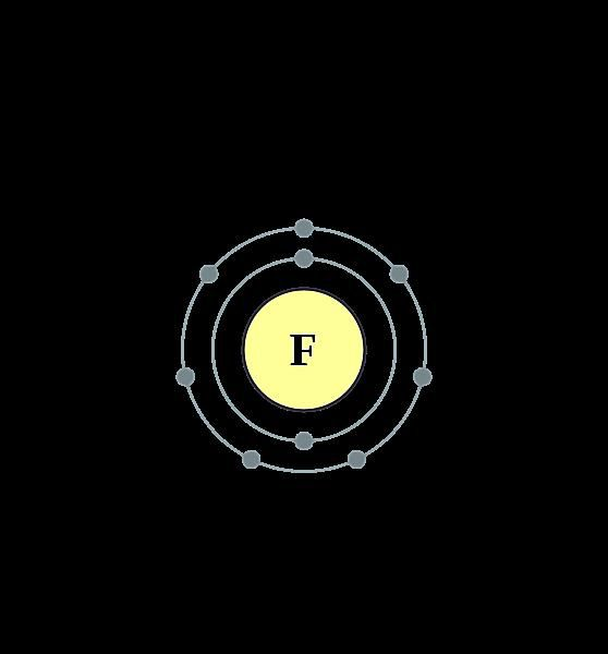 This diagram shows the electron shell of a fluorine atom.