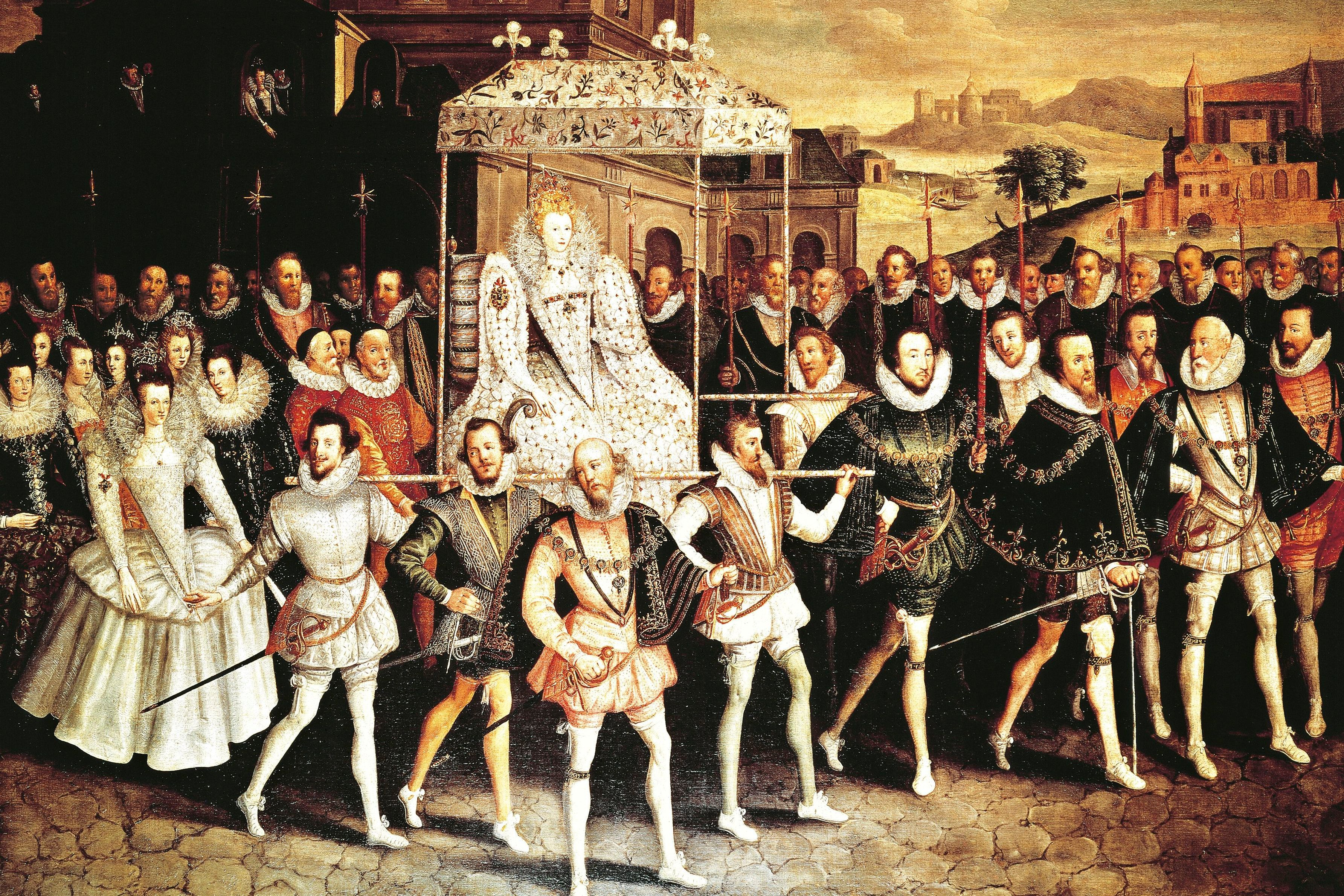 Queen Elizabeth I of England and Ireland in procession to Blackfriars in 1600, painted by Robert the Elder