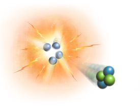 Atomic nuclei combine in nuclei fusion and break into smaller pieces in nuclear fission.