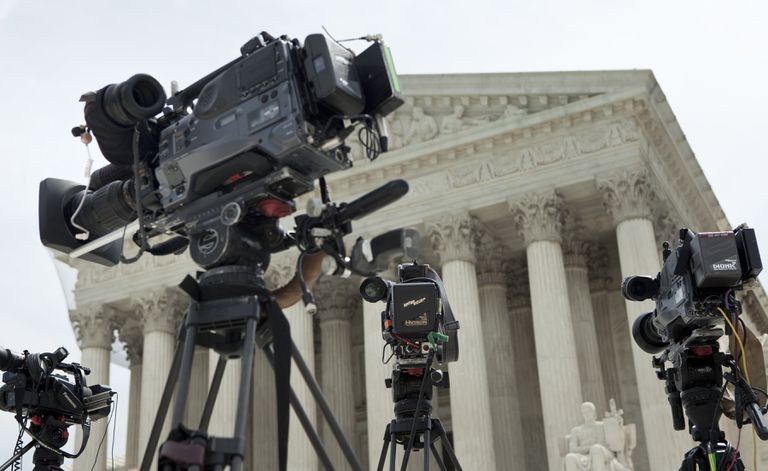 Cameras in front of a court house in anticipation of a nomination hearing.
