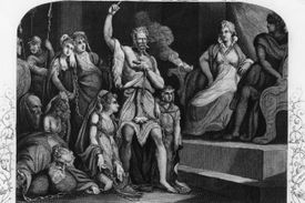 Rebel King Caractacus and members of his family, after being turned over to Roman Emperor Claudius