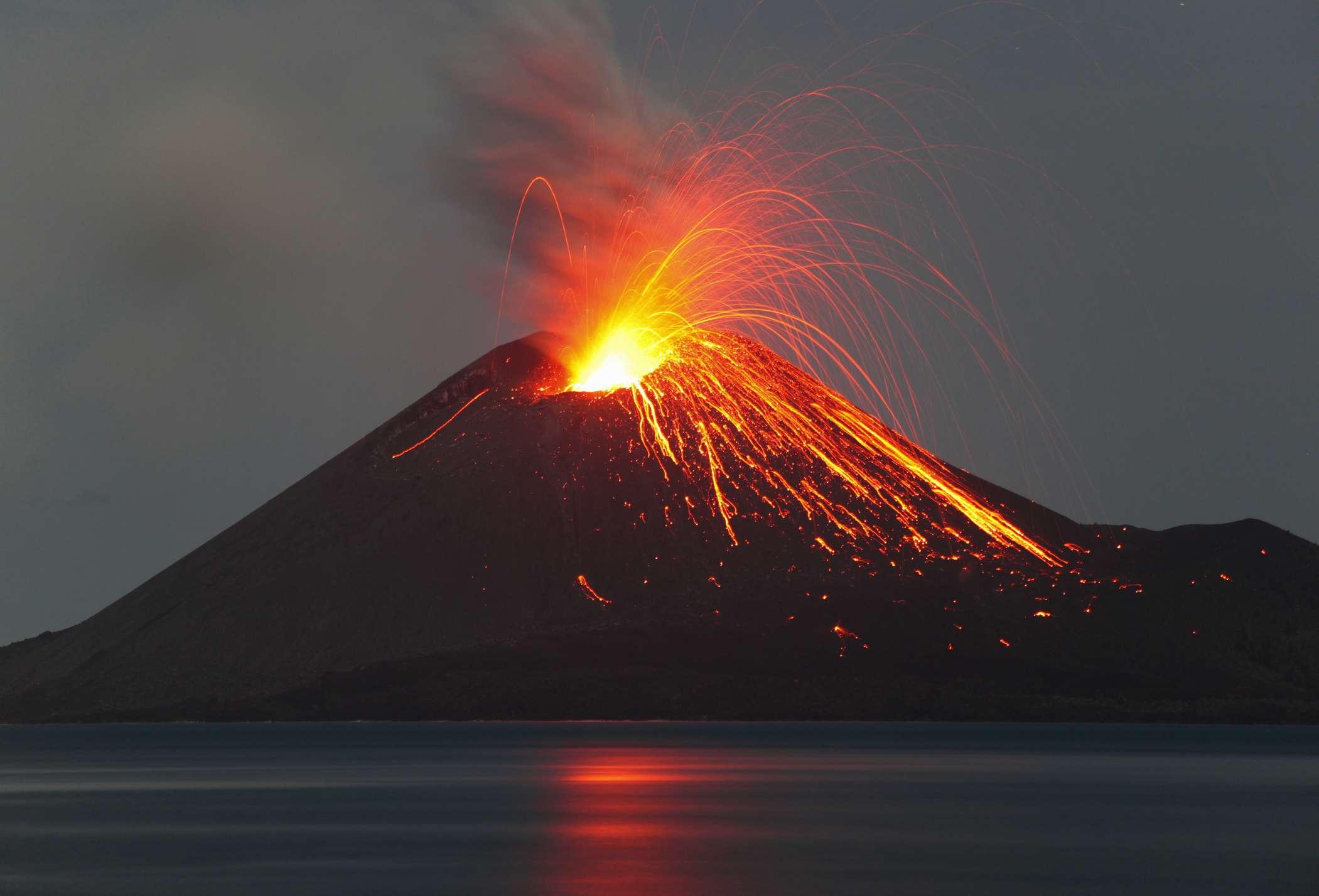 Krakatau volcano erupting