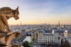 Panoramic of Notre Dame gargoyle and city of Paris