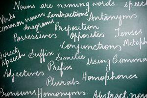 Grammar terms written on chalkboard