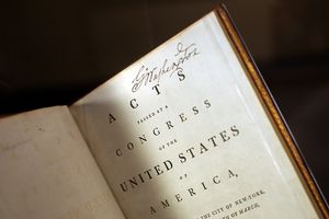 Photo of George Washington's signed copy of the US Constitution