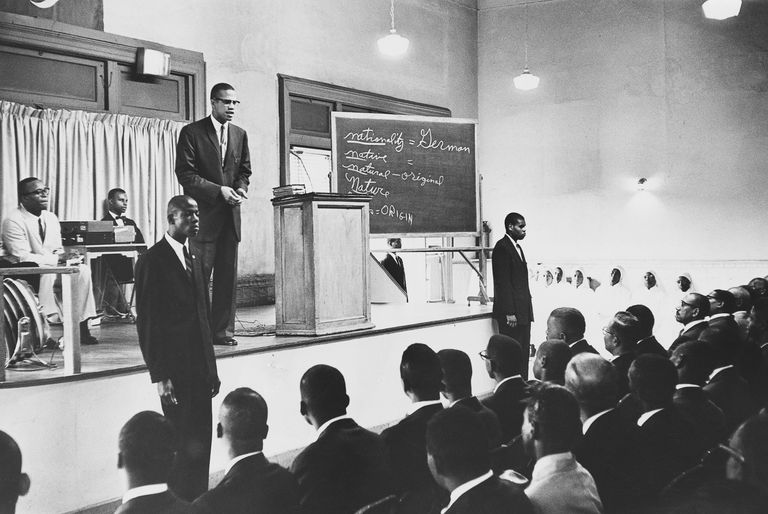 Malcolm X giving a sermon at Temple 7 in Harlem, New York City, August 1963