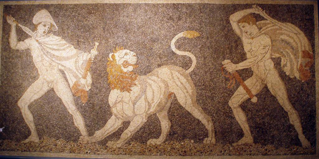 Alexander Mosaic Depiction of Craterus saving Alexander from a Persian lion from Pella, Greece