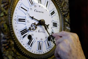 Changing the time on a clock.