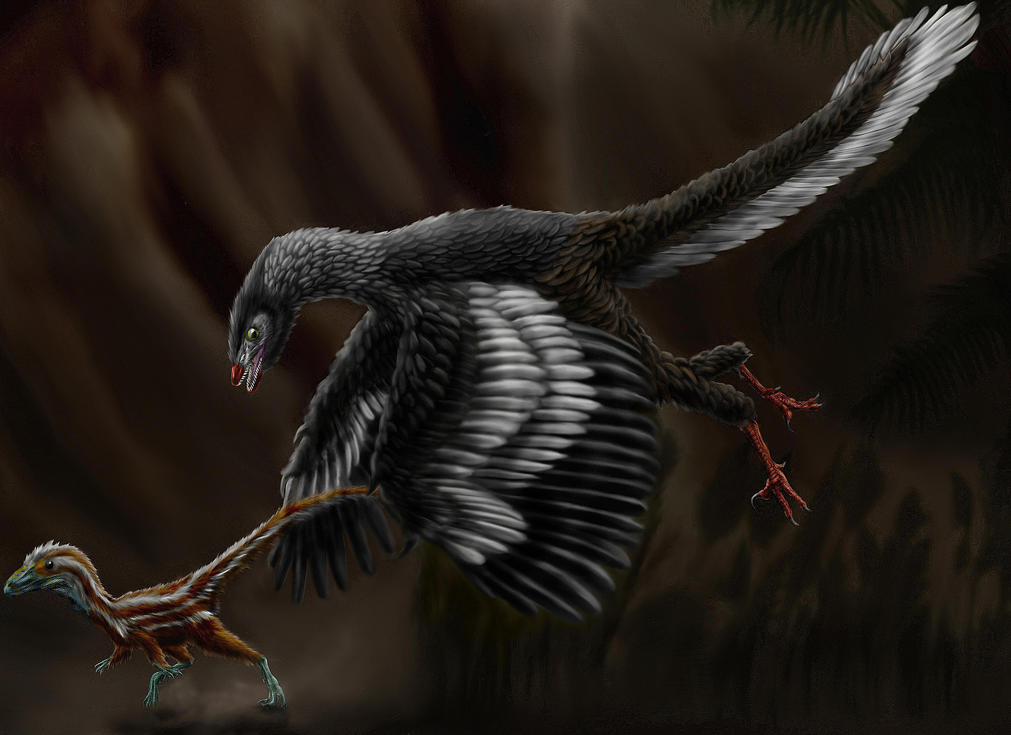 Compsognathus chased by archaeopteryx
