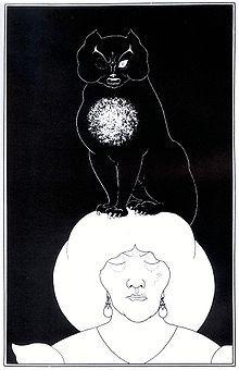 Illustration by Aubrey Beardsley (1894–1895) for 'The Black Cat,' by Edgar Allan Poe.