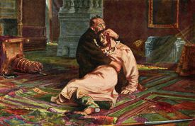 Ivan the Terrible and his son, illustration on