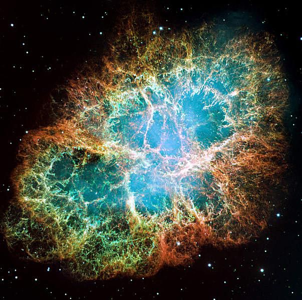 The Crab Nebula is an expanding remnant of a supernova explosion that was observed in 1054.