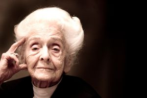 Italian Scientist Rita Levi Montalcini at the celebrations of her 100 birthday.
