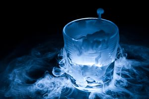 Dry ice fog coming out of a cup