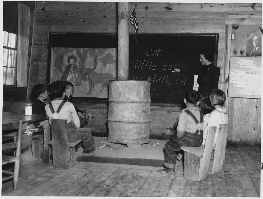 A one-room school in Alabama during the Great Depression.