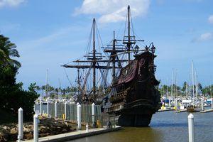 Queen Anne's Revenge replica on docks in Hawaii.