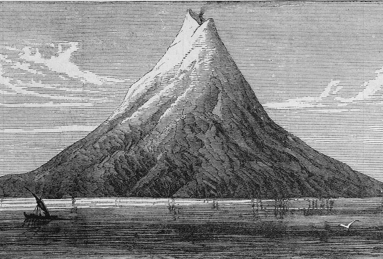 Illustration of volcanic island of Krakatoa before it blew apart.