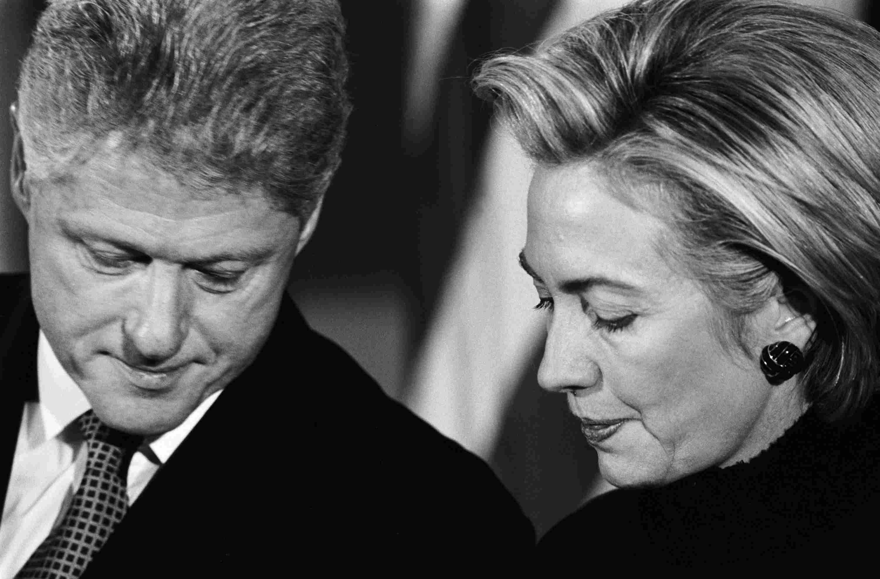 Bill and Hillary Clinton at the start of the Clinton Impeachment trial
