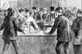 Artistic rendering of Victoria Woodhull raising her arm in a room full of men and officers