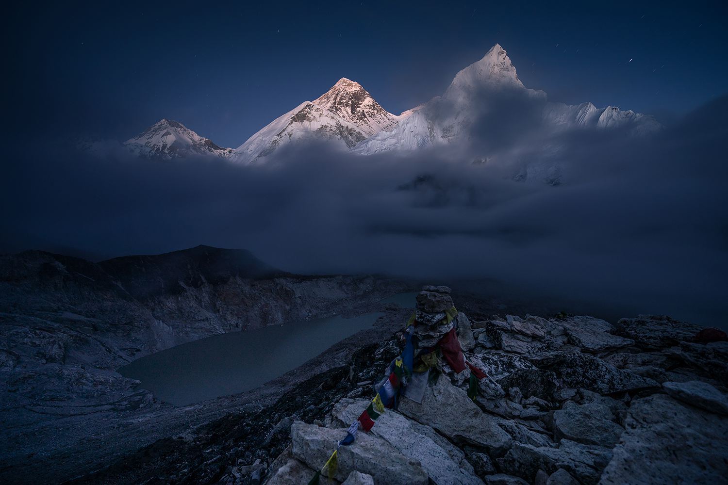 Everest mountain view on top of Kalapattar view point at night, Everest region, Nepal