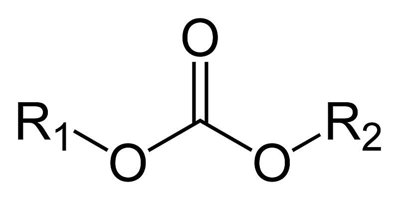 The carbonate ester functional group has the formula ROCOOR and derived from carbonate.