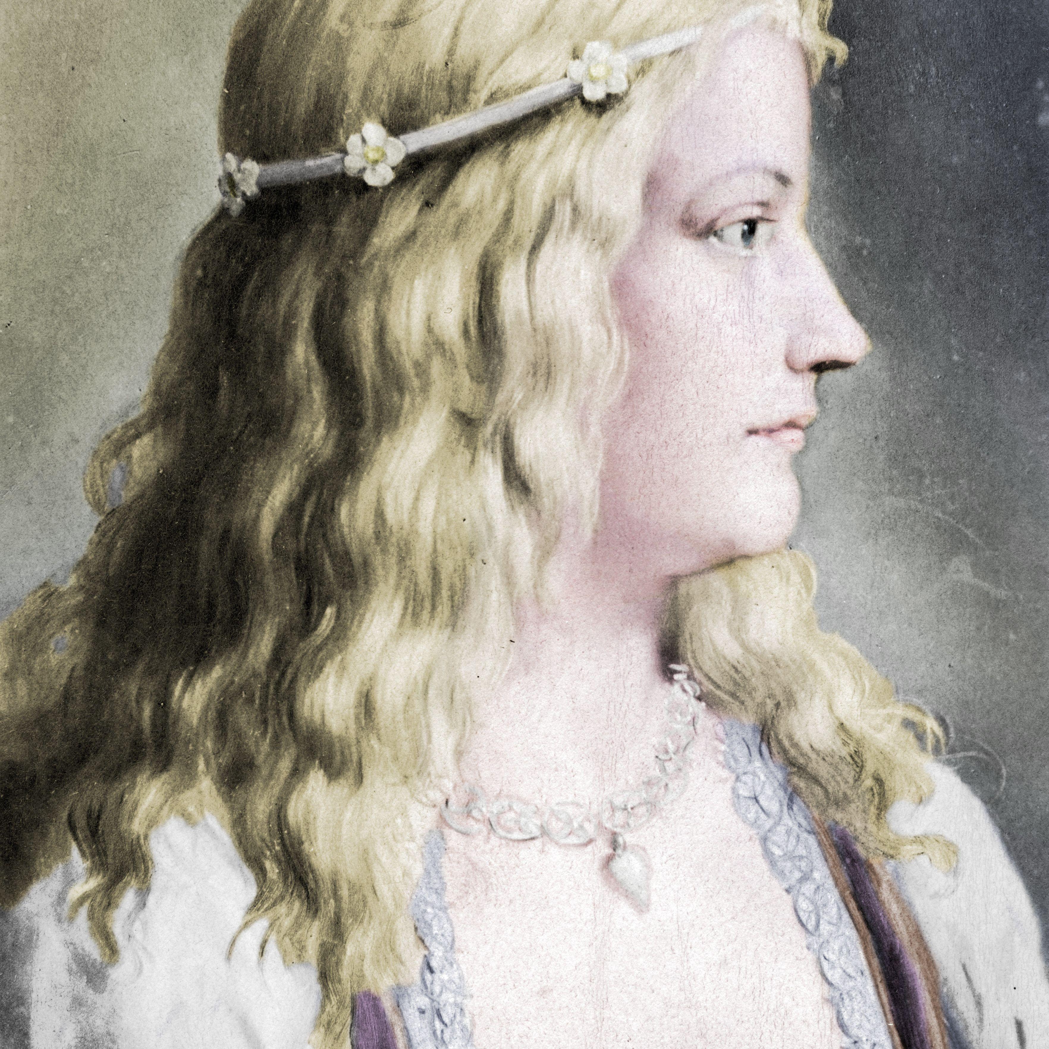 Painting of Lucrezia Borgia facing right.