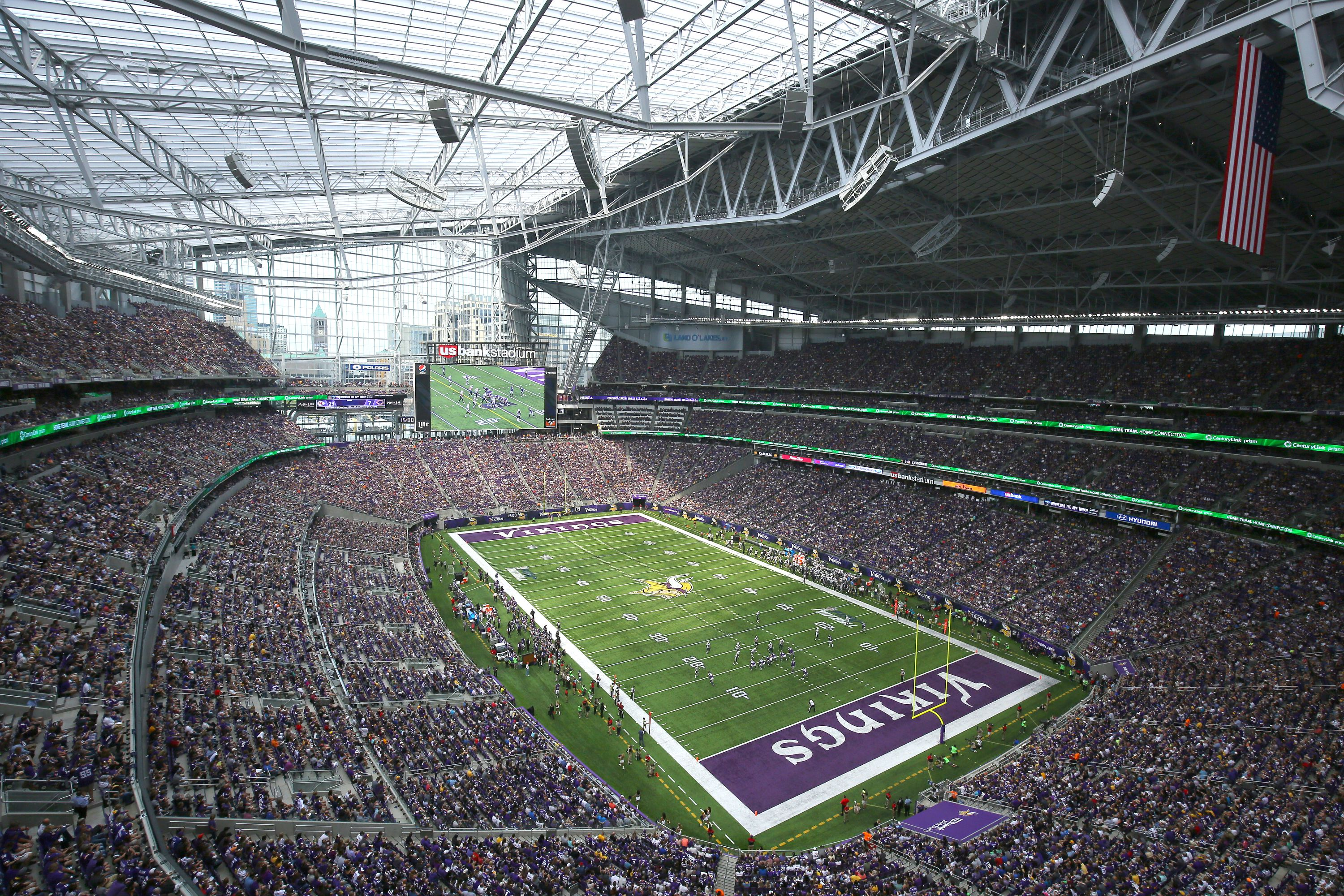 Inside photo of US Bank Stadium, built in 2016 in Minneapolis, Minnesota, with a high-tech ETFE polymer roof that looks like glass panels