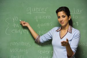 Hispanic female teacher in front of blackboard with Spanish pronouns and conjugated verbs