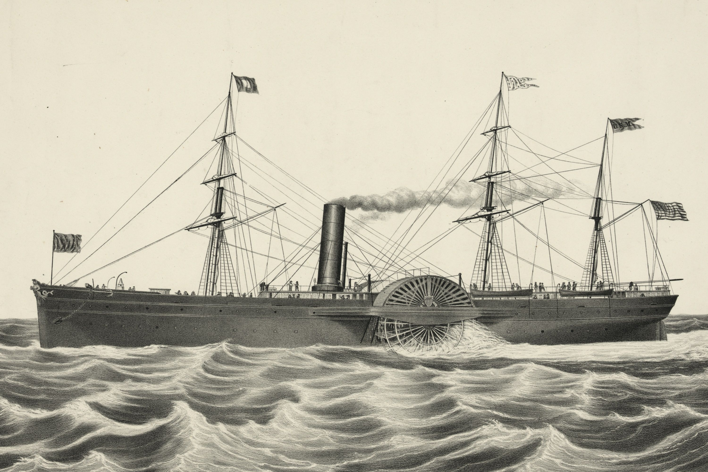 Lithograph of the SS Arctic