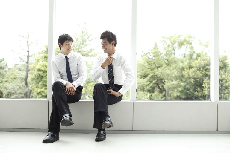 japanese business men talking