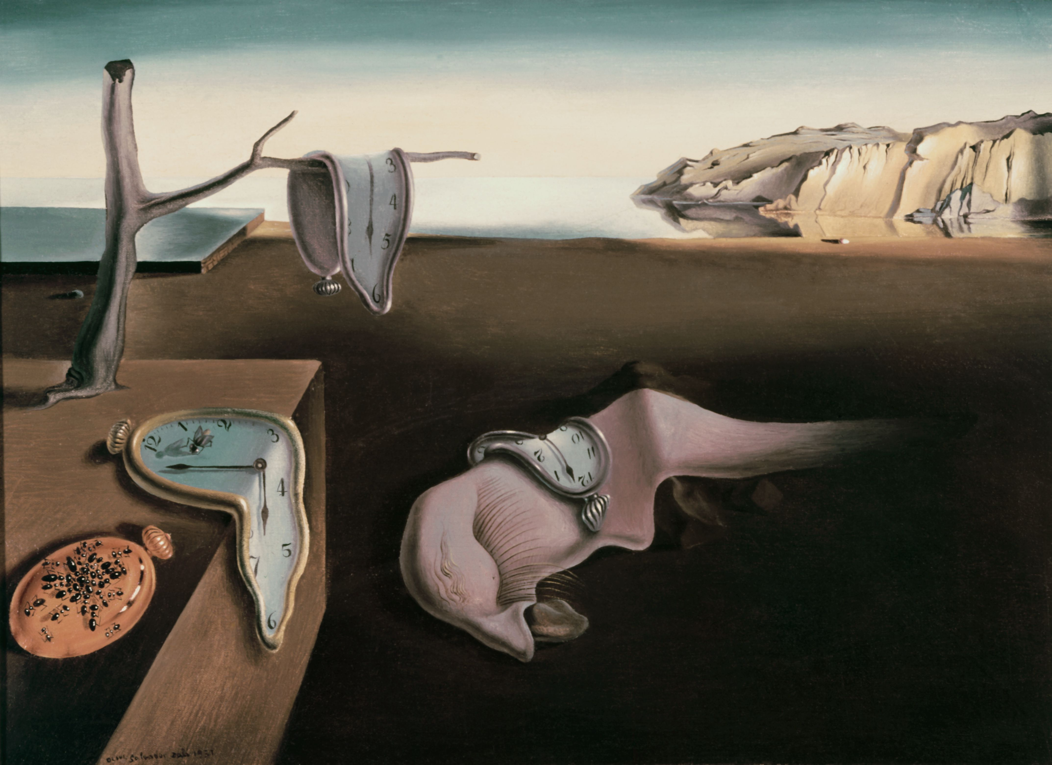 Painting of melting watches in a barren landscape with distant cliffs and ocean.
