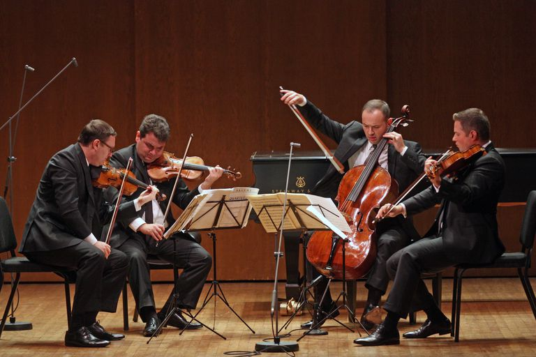 The Jerusalem Quartet, a string quartet made of members (from left) Alexander Pavlovsky, Sergei Bresler, Kyril Zlontnikov and Ori Kam, perform Brahms's String Quartet in A minor at the 92nd Street Y on Saturday night, October 25, 2014.