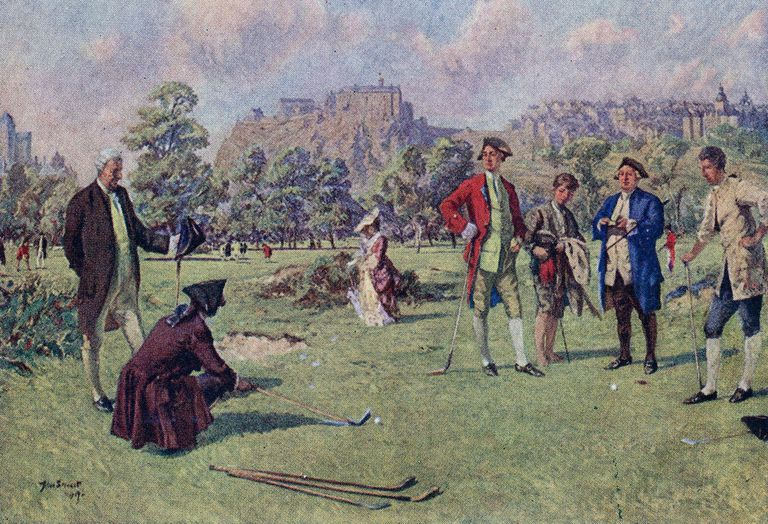 Circa 1750, Eighteenth century golfers at Edinburgh
