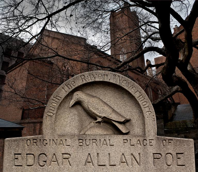 Marker at Edgar Allen Poe's Original Grave Site