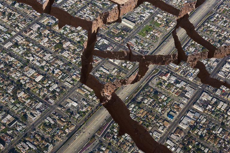 Visible earthquake damage.