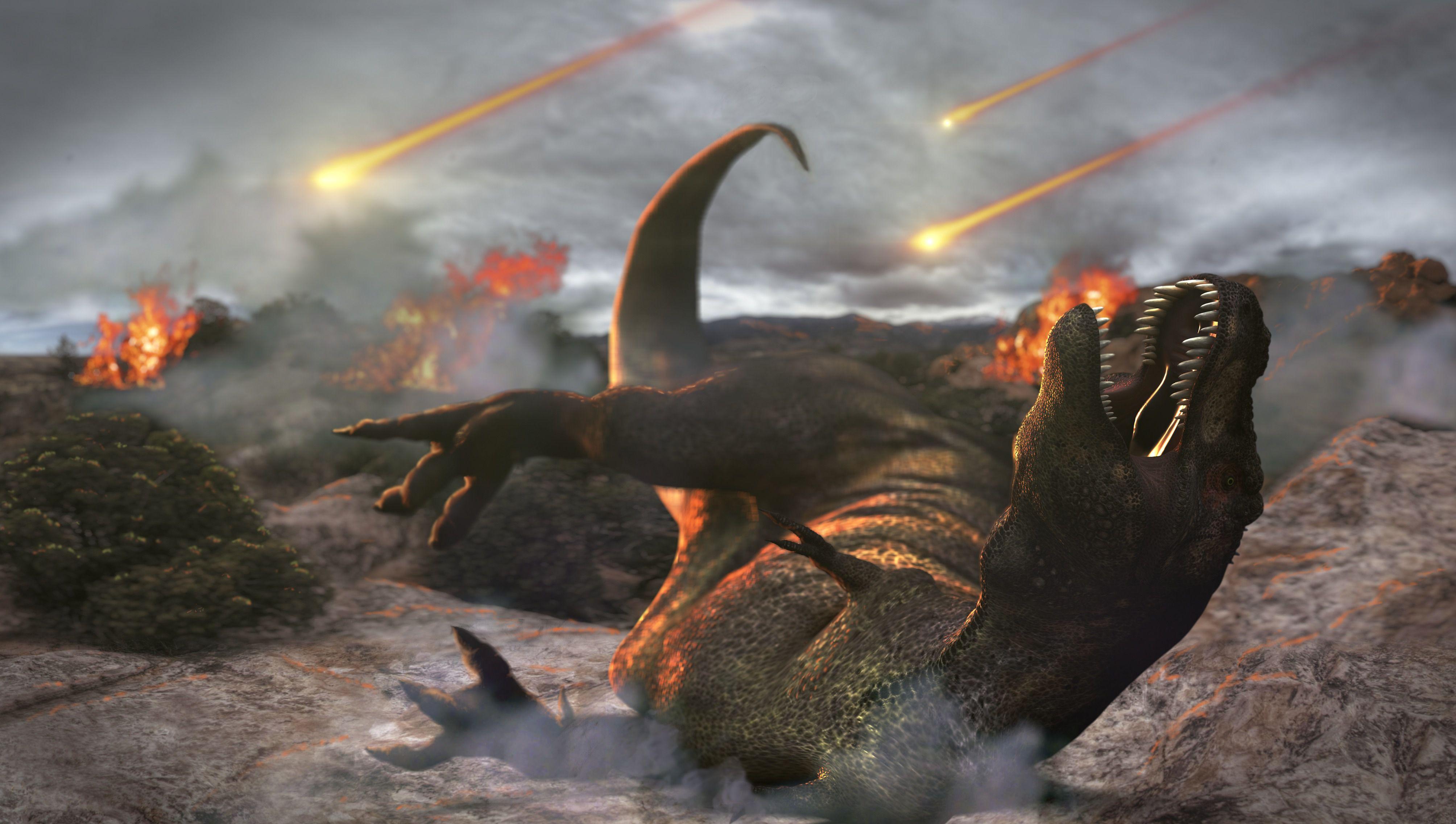 динозавры и метеорит картинки