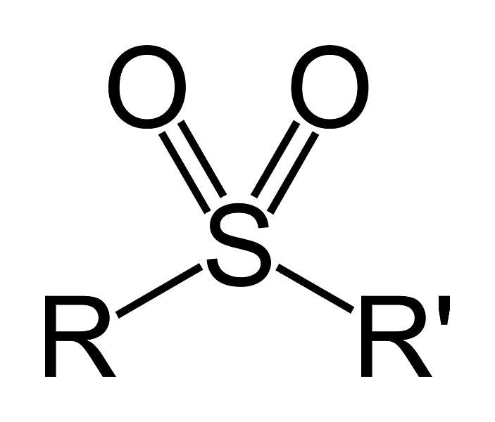 This is the two-dimensional structure of the sulfone or sulfonyl functional group.