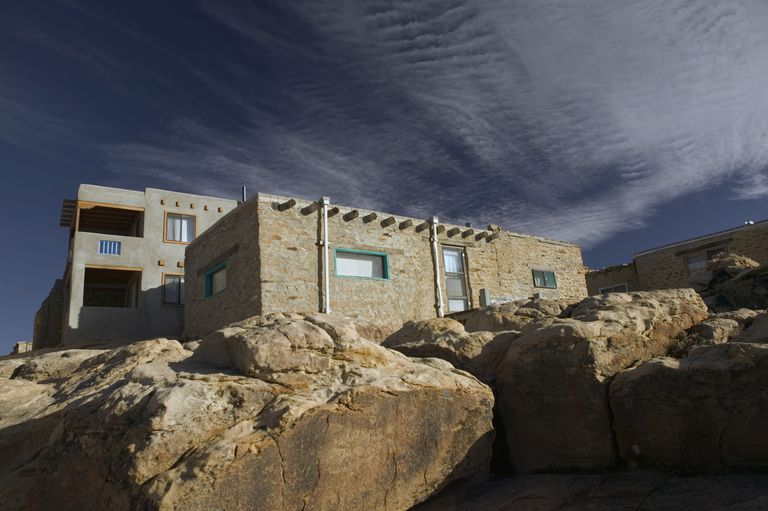 NM, Acoma Pueblo, modern / ancient architectural blend in this home at atop Mesa