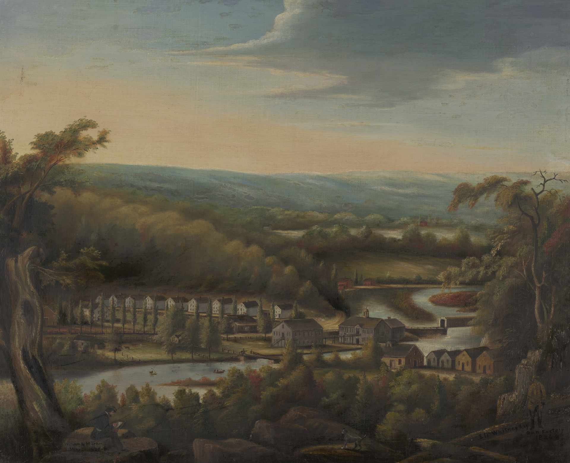 A depiction of the Eli Whitney gun factory in Whitneyville by William Giles Munson. Oil on canvas, 1826-8.