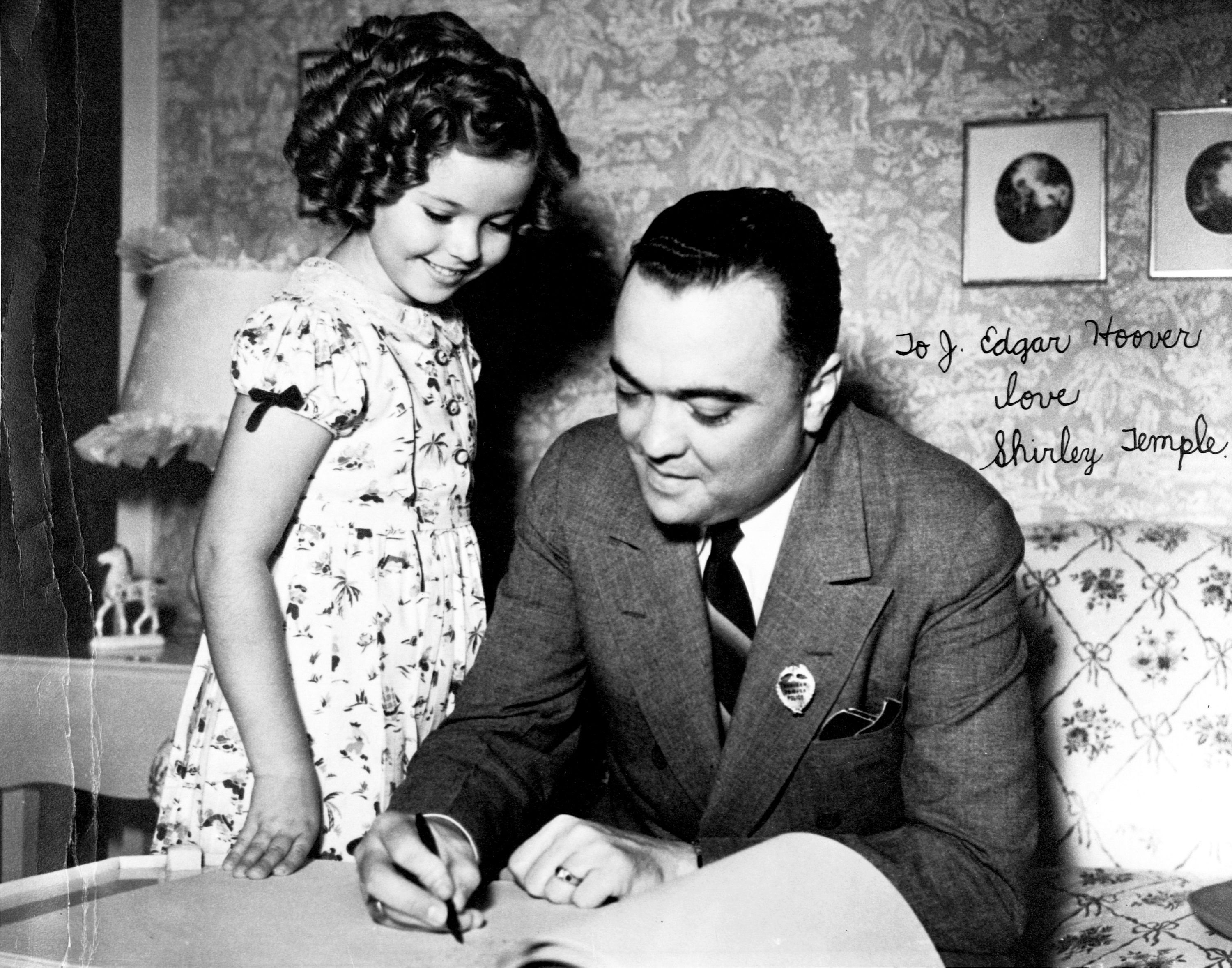 Photo of J. Edgar Hoover with Shirley Temple