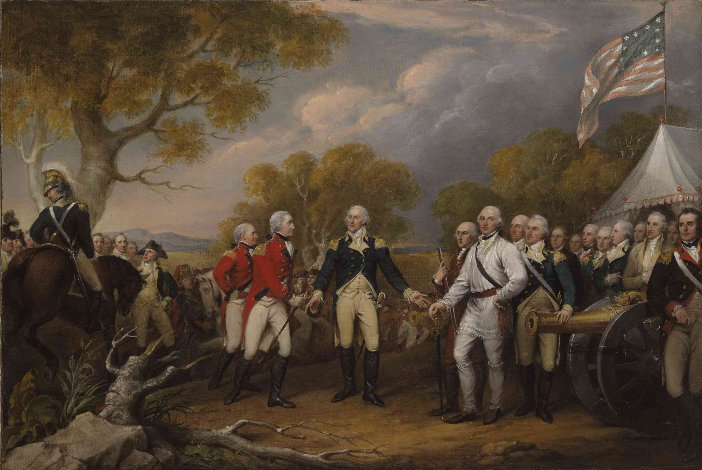 Battle of Saratoga, the British General John Burgoyne surrendering to the American General.