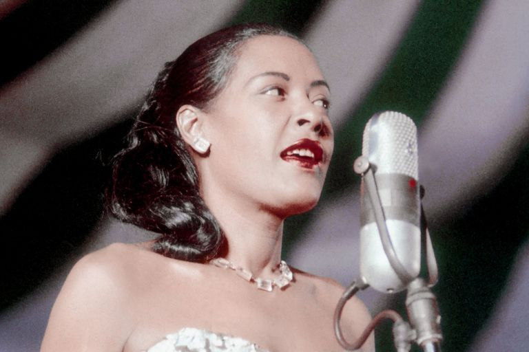 Billie Holiday performing at Newport Jazz Festival, 1957