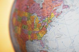 A globe focusing on North America