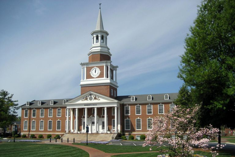 The steepled clocktower of Roberts Hall at High Point University