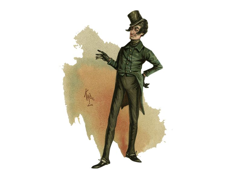 Illustration of Alfred Jingle, Esq., from The Pickwick Papers by Charles Dickens (1836)