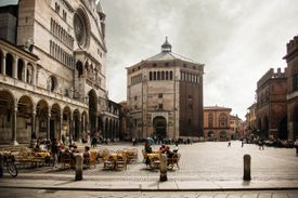 A piazza in Cremona, Italy