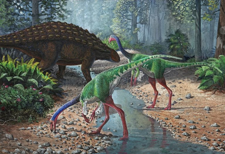 Ornithomimus dinosaurs and Panoplosaurus grazing along a stream.