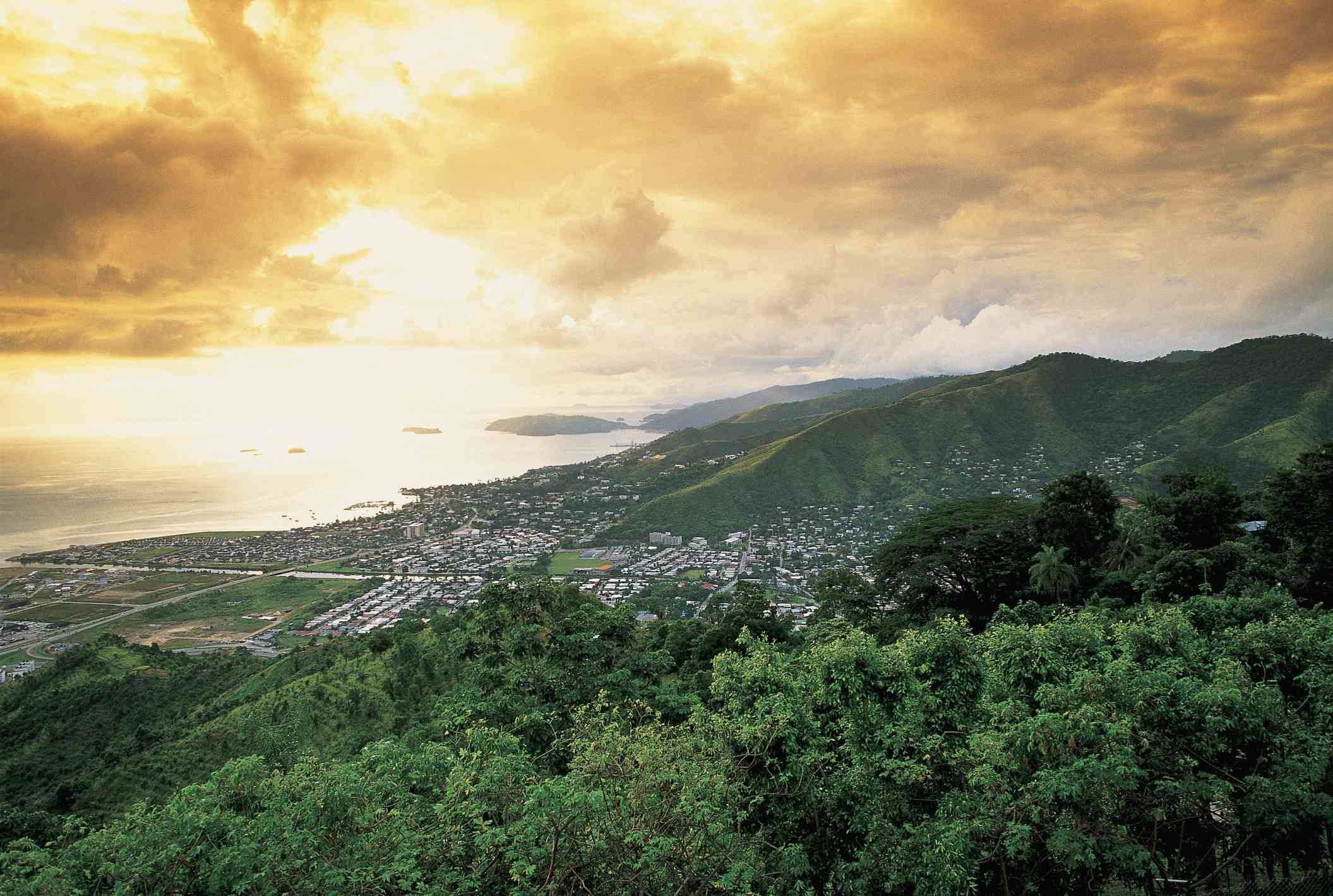High angle view of a city at the coast, Port Of Spain, Trinidad