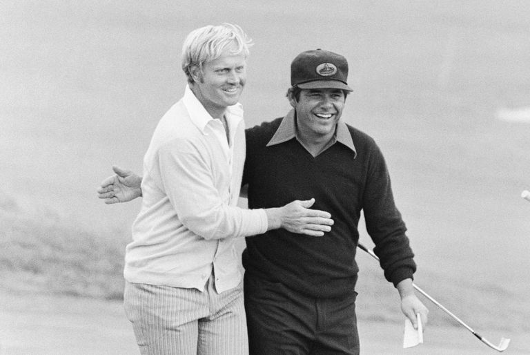 Jack Nicklaus (left) is congratulated by Lee Trevino after Nicklaus won the 72nd US Open Golf Tournament at Pebble Beach.