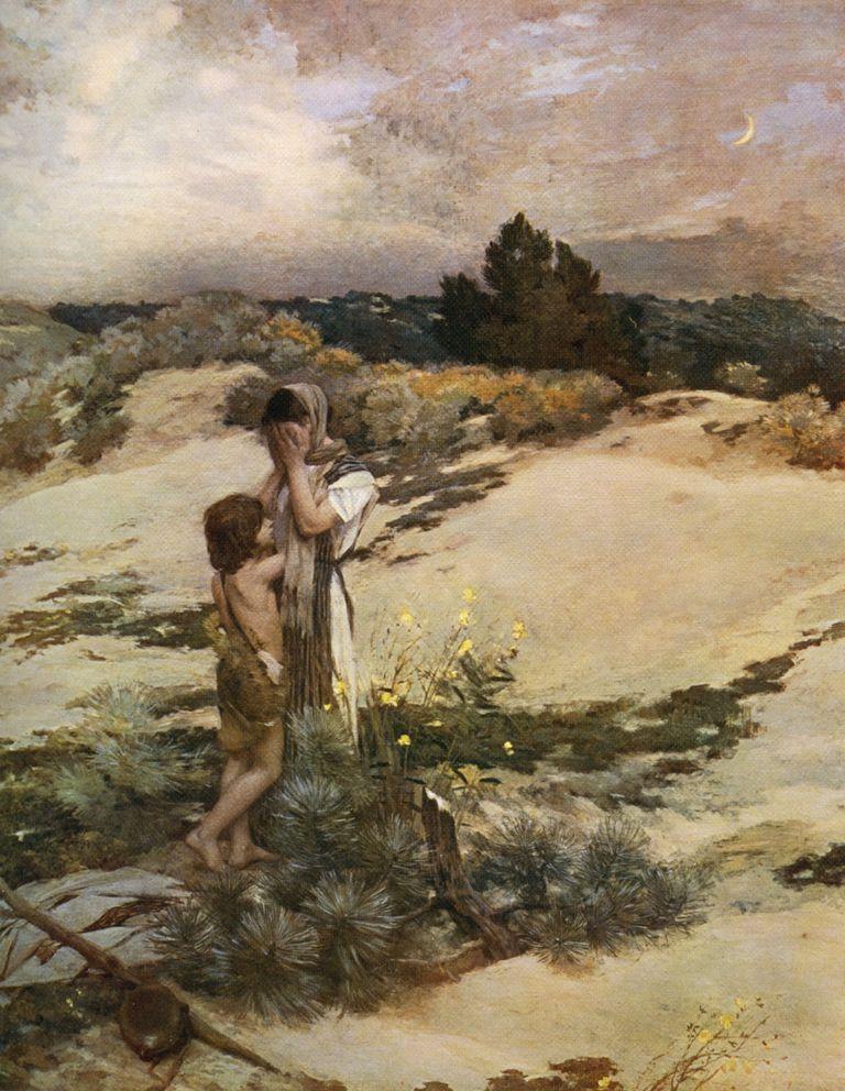 'Hagar and Ishmael', 1880, (1912).Artist: Jean-Charles Cazin